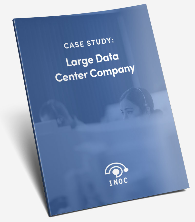 woman talking on a headset Large Data Center Company free case study cover