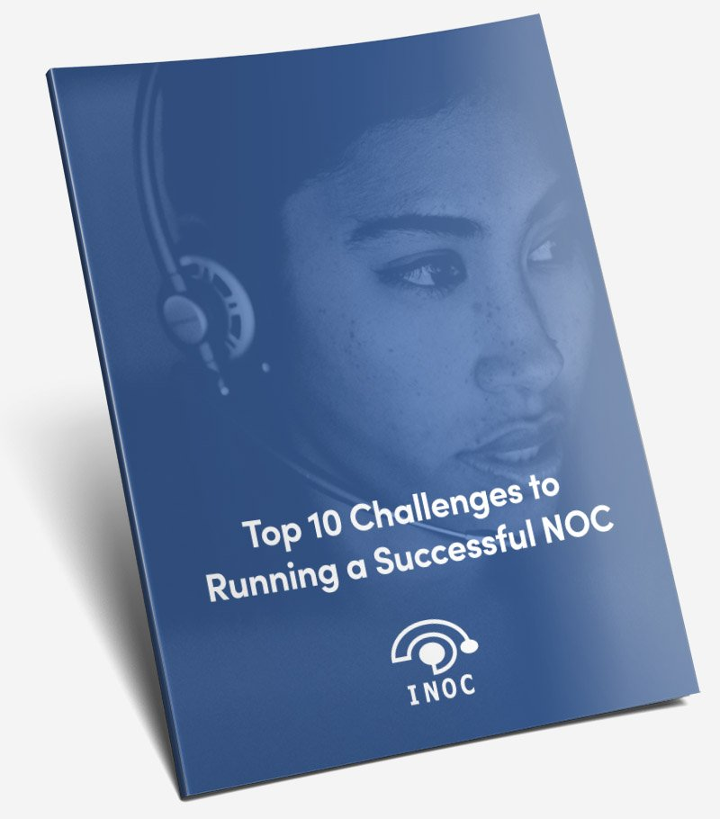 Top Ten Challenges to Running a Successful NOC free white paper cover woman talking on a headset