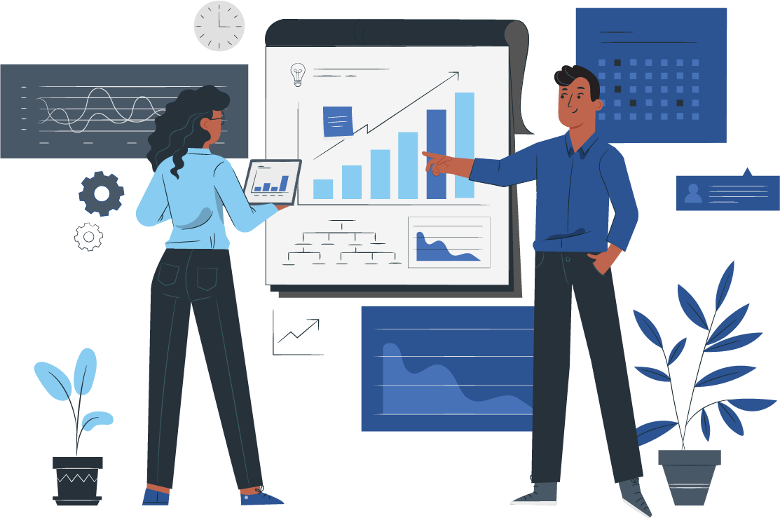 two people working with data illustration
