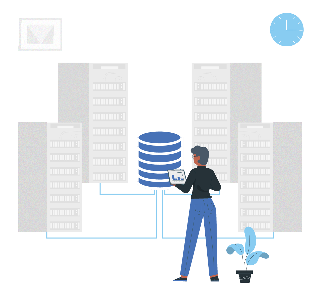 person working with a database in the city illustration