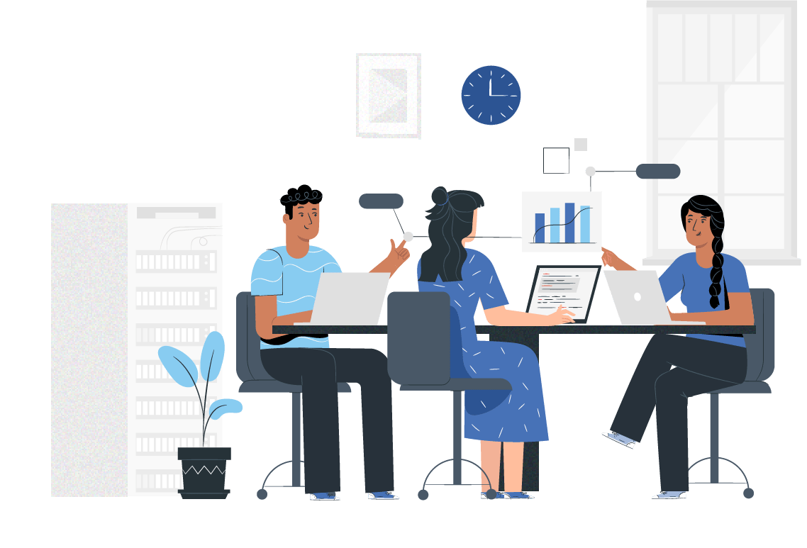 people in an office illustration