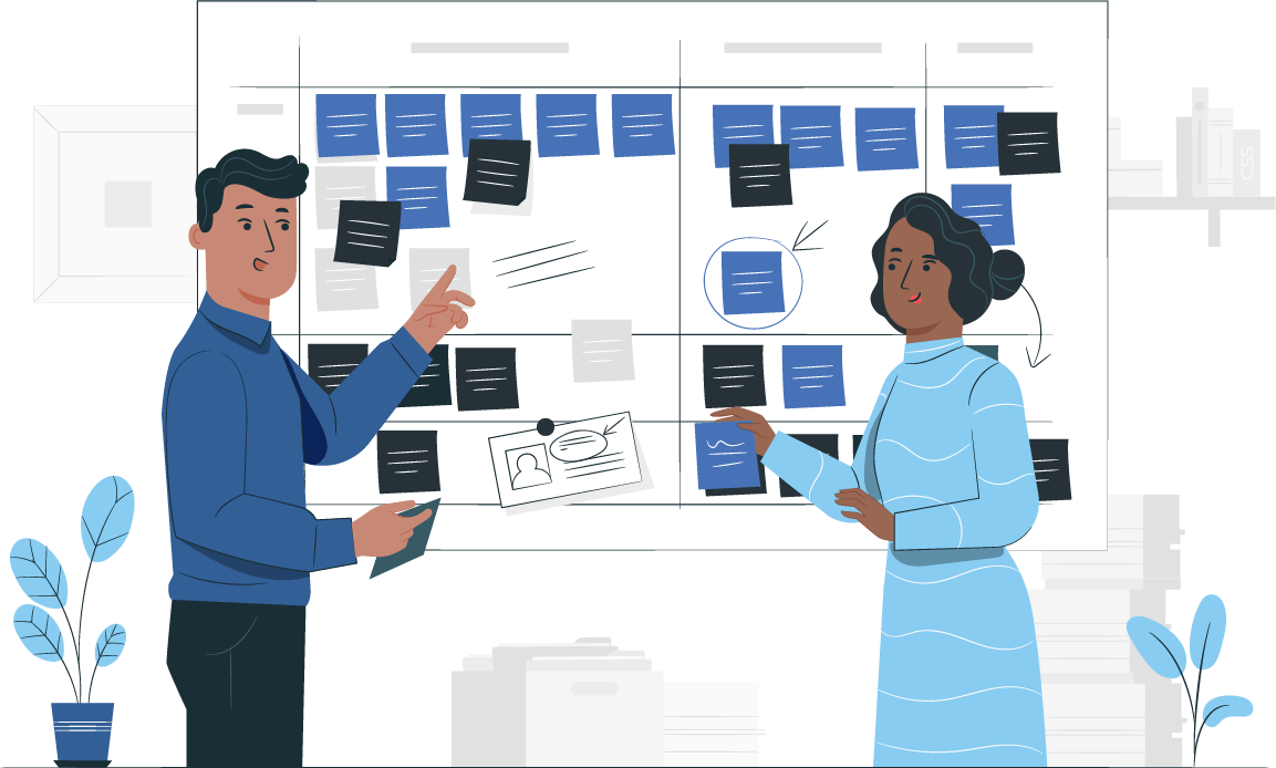two people brainstorming with notes illustration