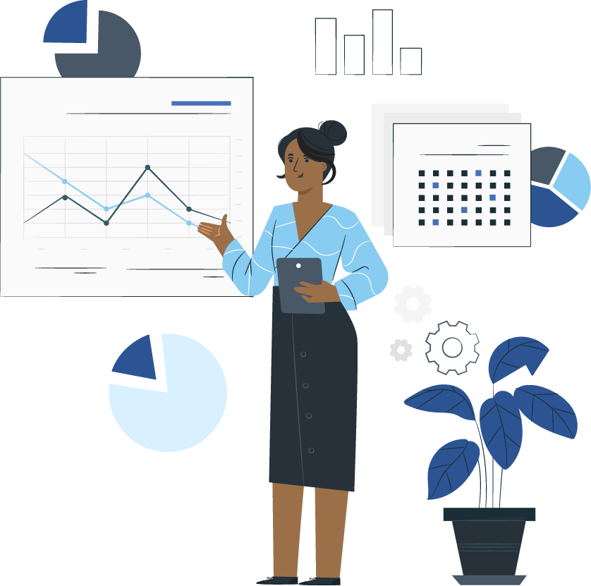 woman gesturing toward a graph illustration