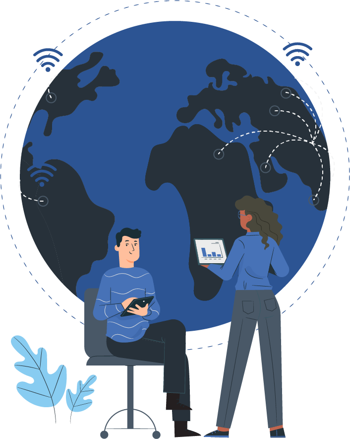 two people in front of a globe illustration